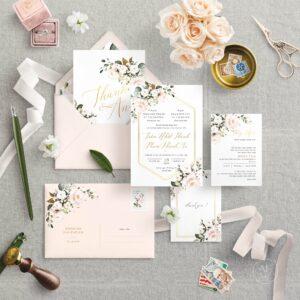 Thiệp cưới hoa hồng màu nước