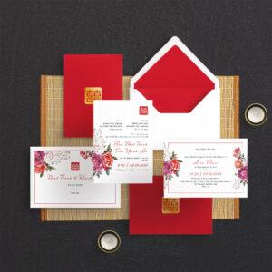 Thiệp cưới đỏ truyền thống | Hoạ tiết hoa màu đỏ | Hoa văn truyền thống | Chữ Hỷ - An Hieu Wedding