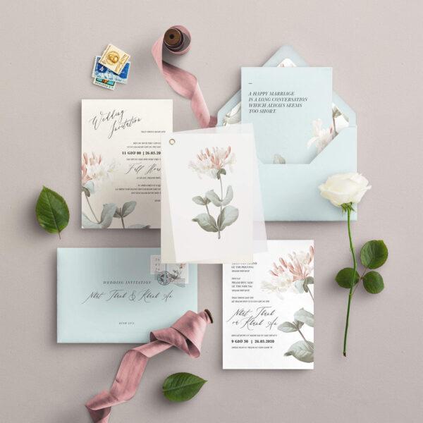 Thiệp cưới hoa lá