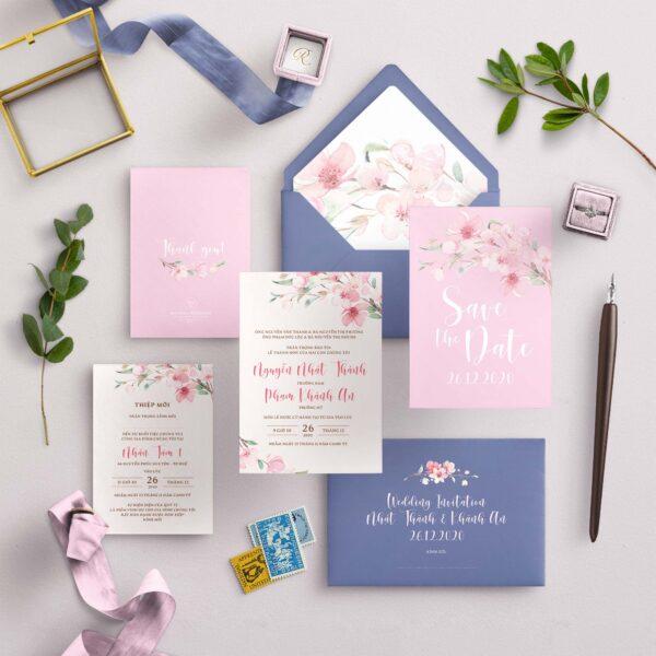 AHD2020-055 - Thiệp cưới Hoa tông màu Hồng và Xanh Dương phá cách - An Hieu Wedding