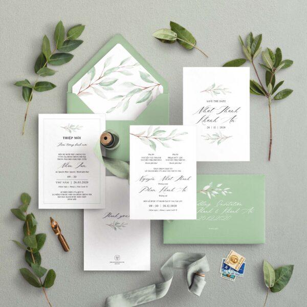AHD2020-056 - Thiệp cưới cành lá | Tông màu xanh lá cây nhẹ nhàng - An Hieu Wedding