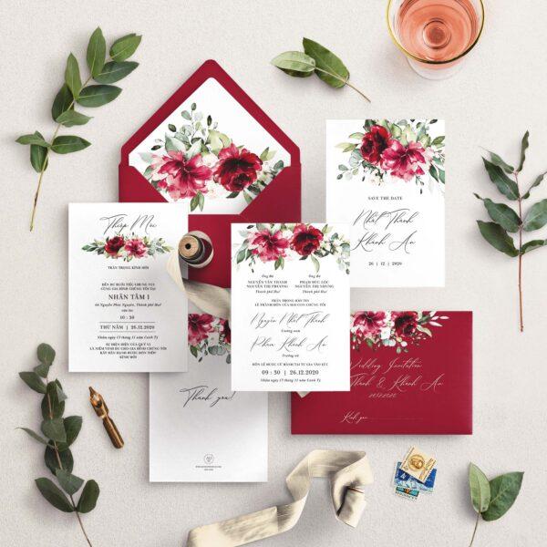 AHD2020-058 - Thiệp cưới Hoa | Tông màu đỏ bordeaux - An Hieu Wedding