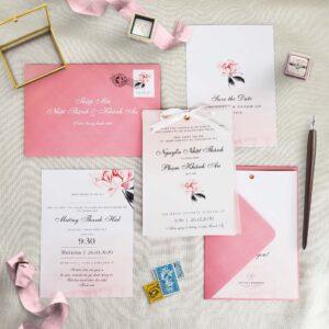 AHD2020-059 - Thiệp cưới Hoa đơn giản | Tinh tế | Tông màu hồng phấn | Kèm Tracing - An Hieu Wedding